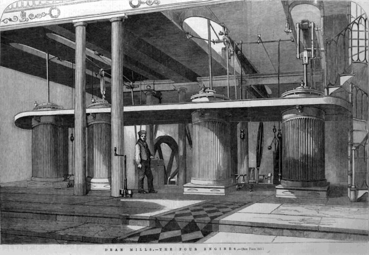 The steam engines at Dean Mills from the Illustrated London News, 1851.