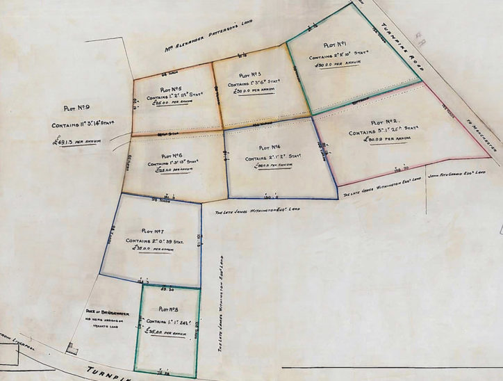 Plan showing land bought from the Fitzgeralds in the 1830s.