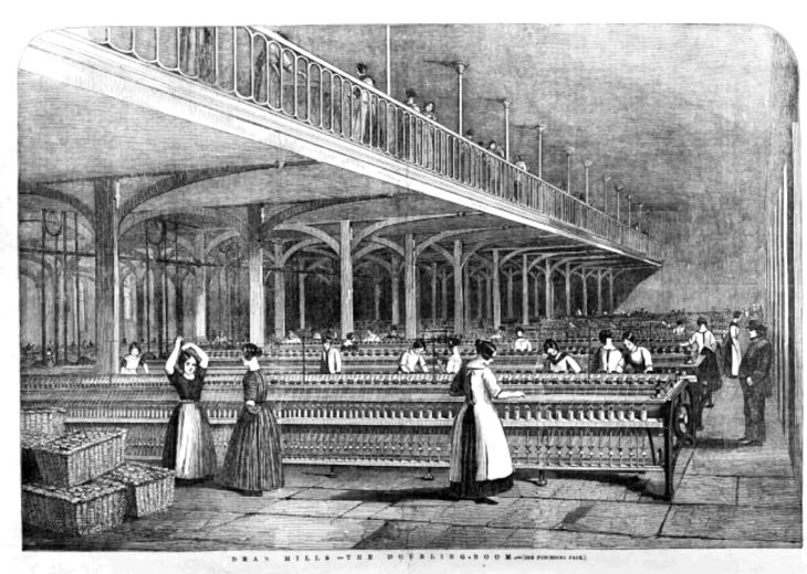 The spinning and doubling room at Dean Mills from the Illustrated London News, 1851.