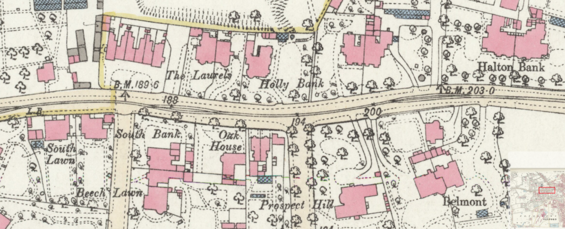1893 OS map showing houses north and south of Eccles Old Road between South Bank and Halton Bank