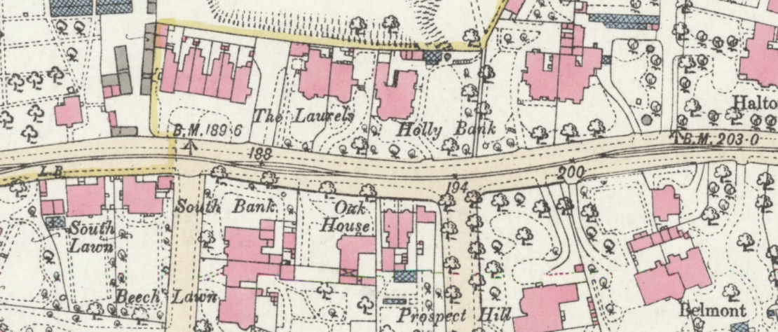 1893 OS map showing houses north and south of Eccles Old Road