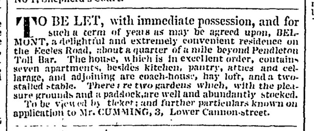 Advert Manchester Guardian 29/11/1828 offering Belmont to be let