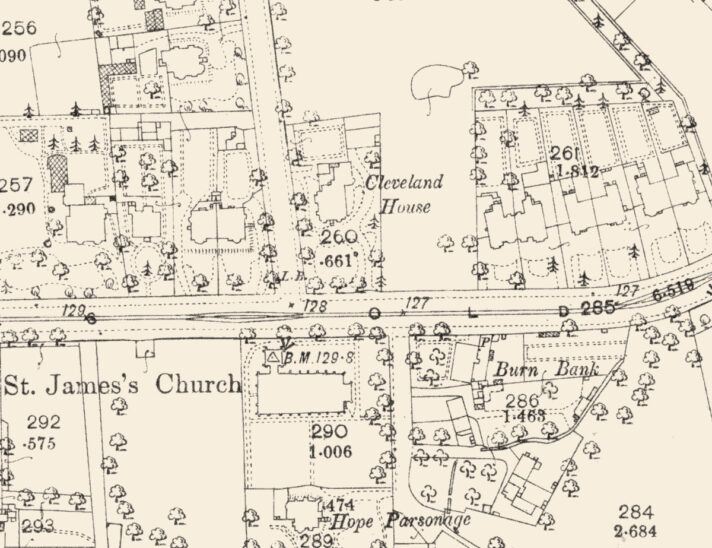 1893 Ordnance Survey map showing Cleveland House location.