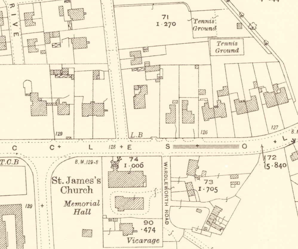 1929 Ordnance Survey map showing Cleveland House and surrounding properties