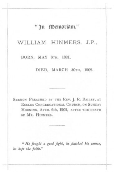 Front page of memorial sermon on death of William Hinmer