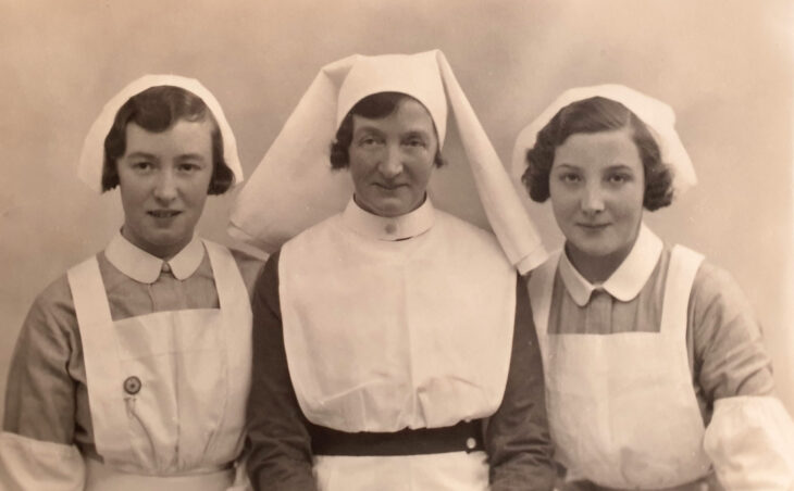 Photograph of Annie Amelia Jones (nee Hipwell), her sister Gertrude and daughter Lilly, all nurses at Cleveland House aternity home