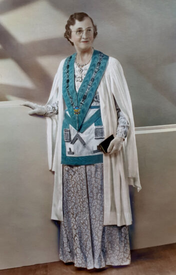 Annie Amelia Hipwell wearning the regalia of women's Freemasonry