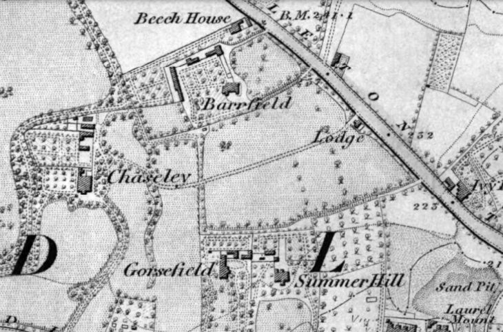 The 1848 Ordnance survey map of Beech House and Chaseley.