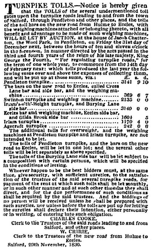 Newspaper advertisement for auction of Tolls on Salford roads, 1830