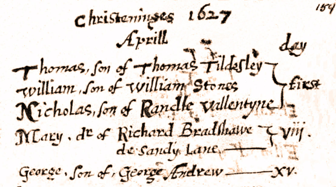 Mary Bradshaw's baptism in St. Mary the Virgin, Eccles, 1627