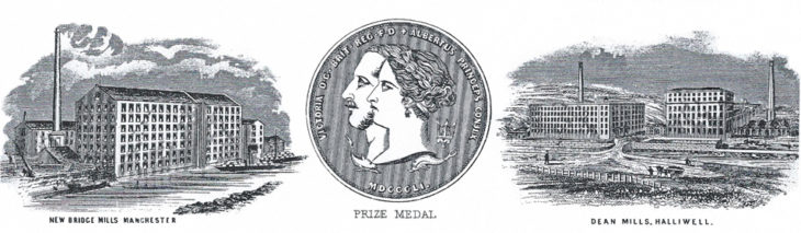Bazley and Gardner celebrated their 1851 gold medal and their two mills in Manchester and Bolton on their letter heading.
