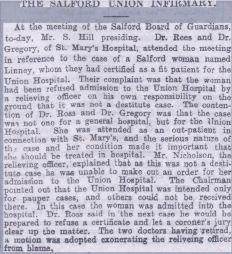 Manchester Evening News article 11 Aug 1899 concerning a seriously ill Salford woman refused admission to the Infirmary as she was not destitute.