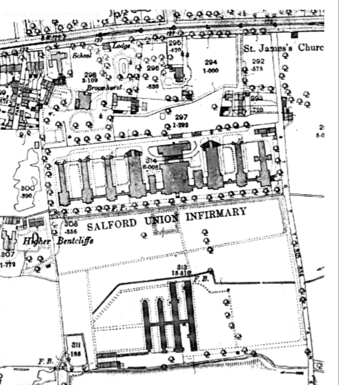 Ordnance Survey map showing site of Salford Union Infirmary around 1888.