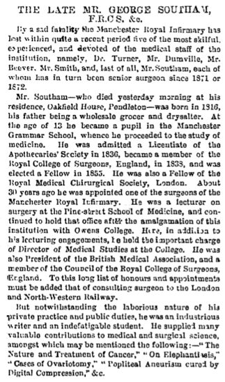 Obituary to George Southam from Manchester Guardian 25 April 1876, describing his significant contributions to the practice and theory of medicine and medical science.