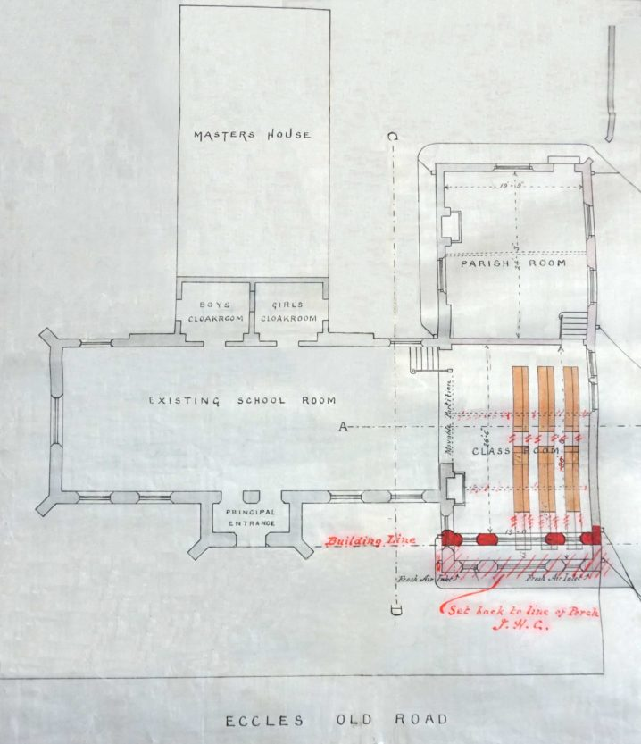 1899 Plan showing new classroom by architect J H Cunliffe